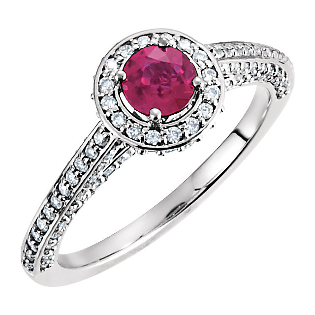 Great Deal in 14 Karat White Gold Ruby & 0.60 Carat Total Weight Diamond Engagement Ring