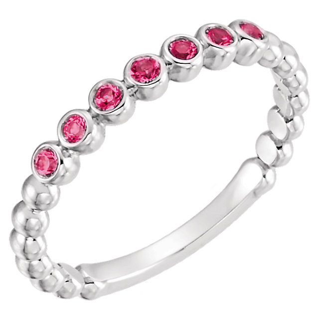 Genuine Ruby Ring in 14 Karat White Gold Ruby Stackable Ring