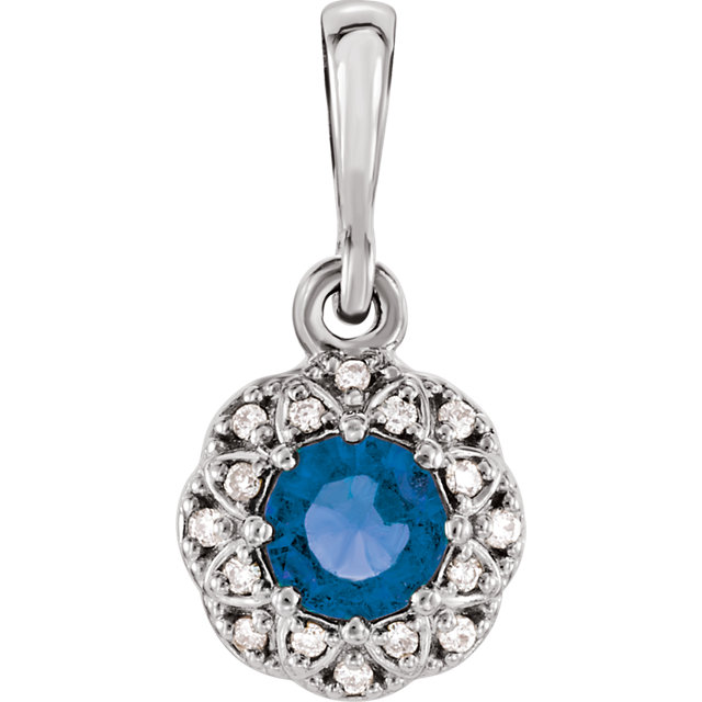 Easy Gift in 14 Karat White Gold Sapphire & .04 Carat Total Weight Diamond Halo-Style Pendant