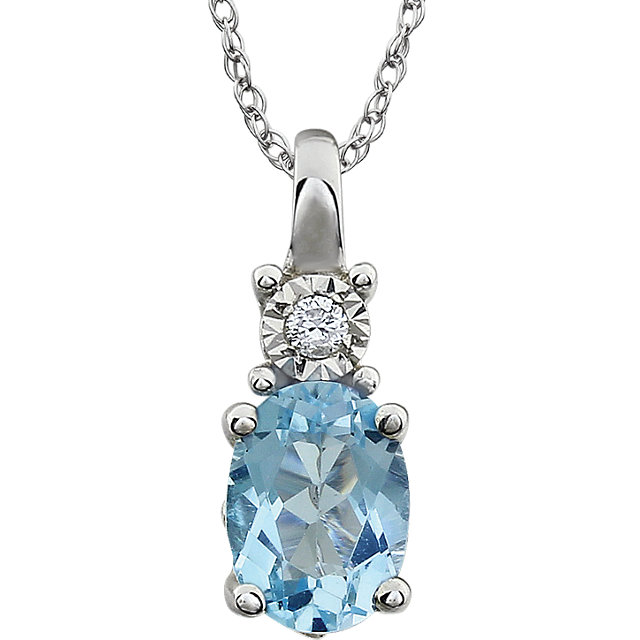 Wonderful 14 Karat White Gold Sky Blue Topaz & .02 Carat Total Weight Diamond 18