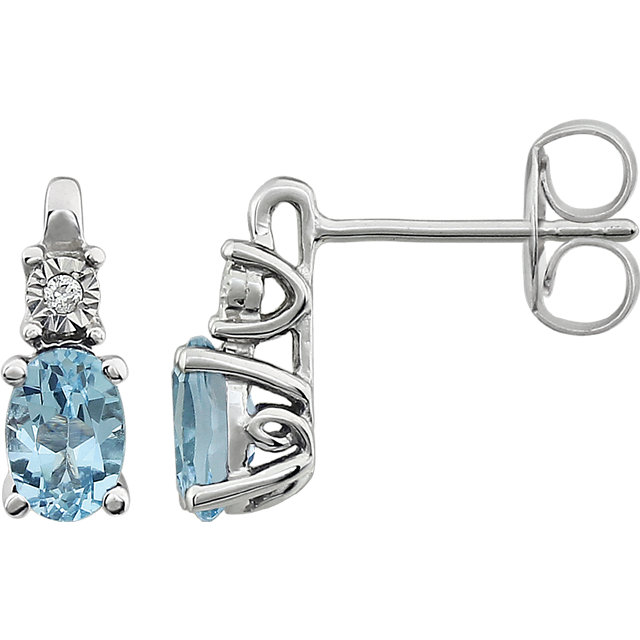 Easy Gift in 14 Karat White Gold Sky Blue Topaz & .02 Carat Total Weight Diamond Accented Earrings