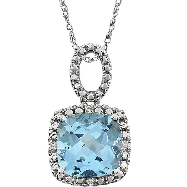 Great Buy in 14 Karat White Gold Sky Blue Topaz & .03 Carat Total Weight Diamond 18