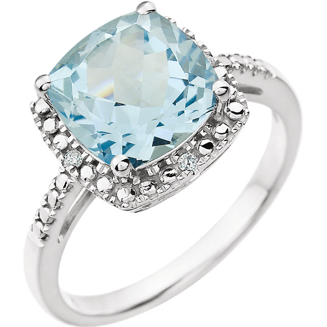 Classic 14 Karat White Gold Cushion Genuine Sky Blue Topaz & .03 Carat Total Weight Diamond Ring