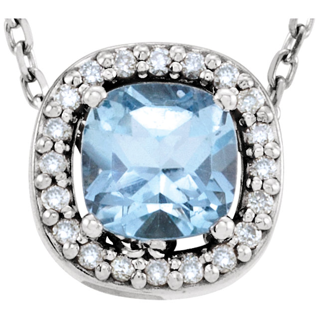 Perfect Jewelry Gift 14 Karat White Gold Sky Blue Topaz & .04 Carat Total Weight Diamond 16