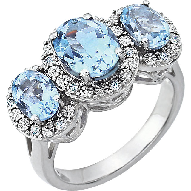 14 KT White Gold Sky Blue Topaz & .04 Carat TW Diamond Ring
