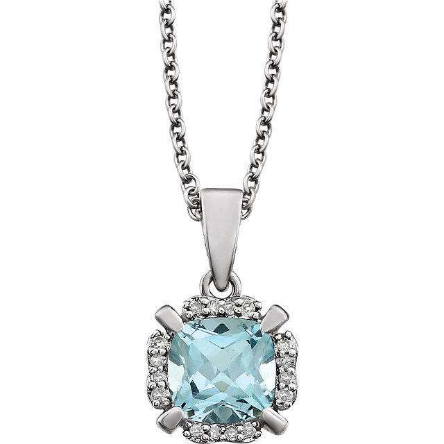 Appealing Jewelry in 14 Karat White Gold Sky Blue Topaz & .05 Carat Total Weight Diamond 18