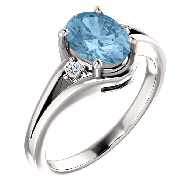 Best 14 Karat White Gold Oval Genuine Sky Blue Topaz & .05 Carat Total Weight Diamond Ring