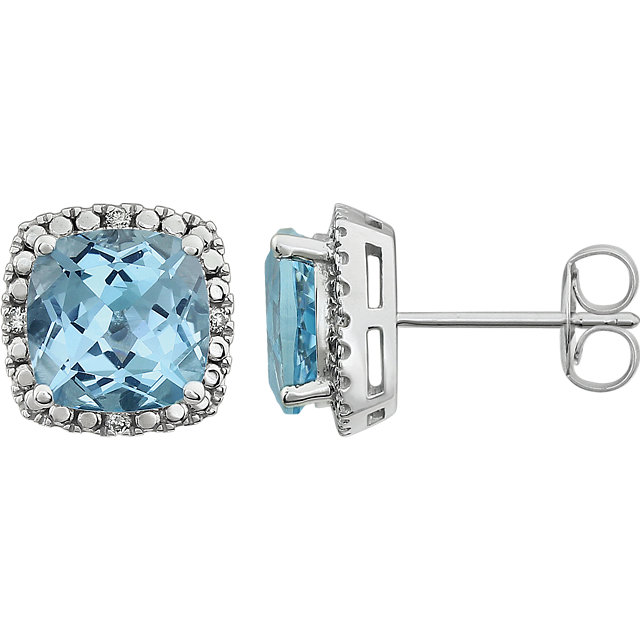 Eye Catchy 14 Karat White Gold Sky Blue Topaz & .06 Carat Total Weight Diamond Earrings