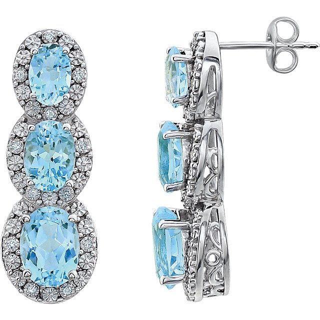 Beautiful 14 Karat White Gold Sky Blue Topaz & .07 Carat Total Weight Diamond 3-Stone Earrings