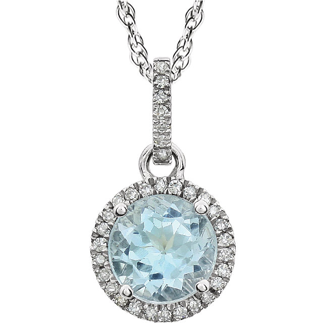 Must See 14 Karat White Gold Sky Blue Topaz & 0.10 Carat Total Weight Diamond 18