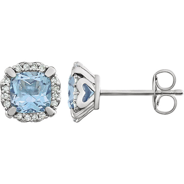 Chic 14 Karat White Gold Sky Blue Topaz & 0.10 Carat Total Weight Diamond Earrings