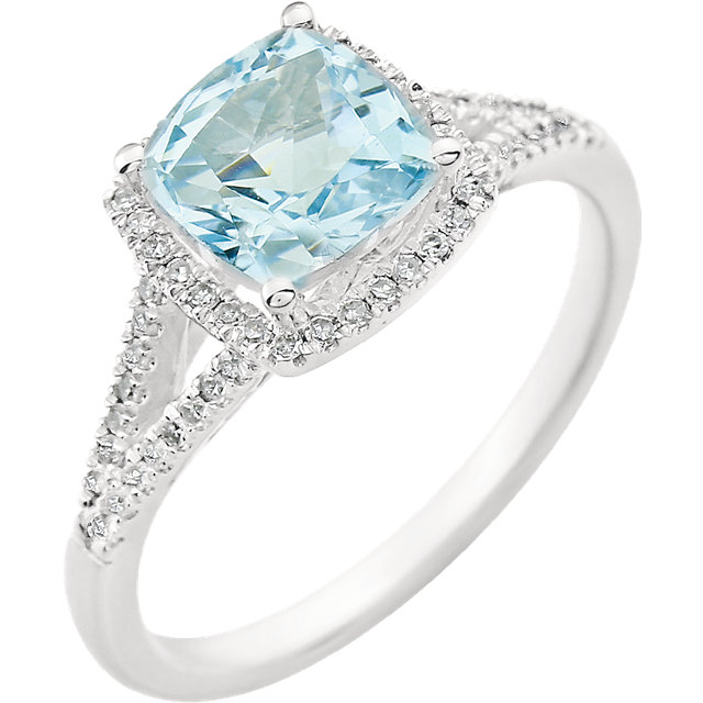 Stunning 14 Karat White Gold Cushion Genuine Sky Blue Topaz & 1/5 Carat Total Weight Diamond Ring