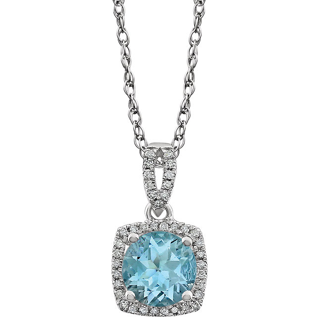 Fine Quality 14 Karat White Gold Sky Blue Topaz & 0.12 Carat Total Weight Diamond 18