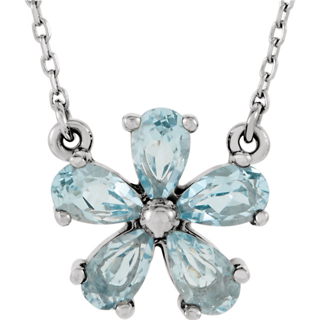 Surprise Her with  14 Karat White Gold Sky Blue Topaz 16