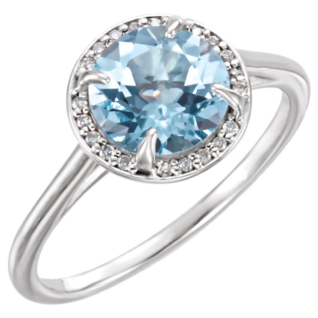 Gorgeous 14 Karat White Gold Round Genuine Sky Blue Topaz and .05Carat Total Weight Diamond Ring