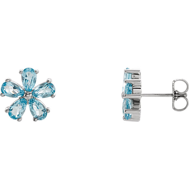 Gorgeous 14 Karat White Gold Sky Blue Topaz Earrings