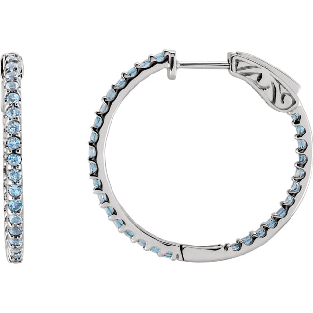 Amazing 14 Karat White Gold Round Genuine Sky Blue Topaz Hoop Earrings