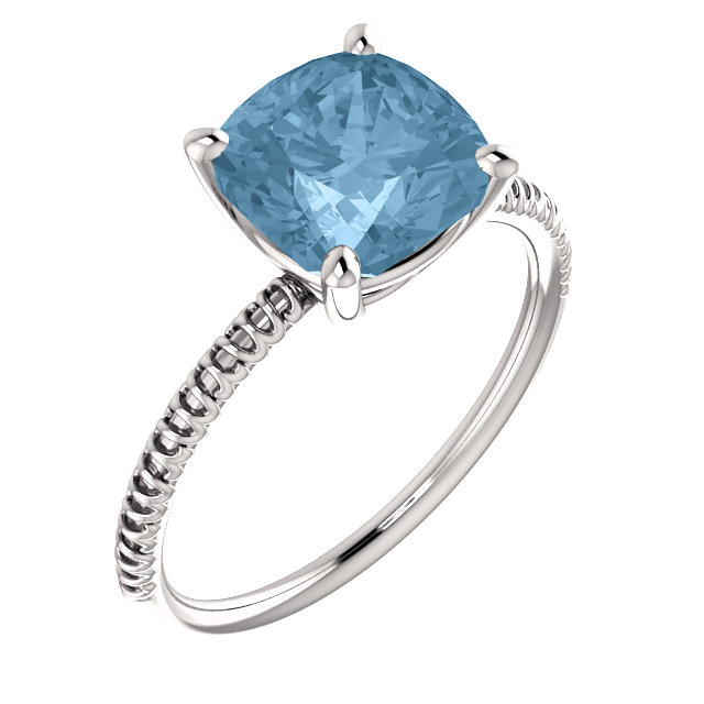 Striking 14 Karat White Gold Cushion Genuine Sky Blue Topaz Ring