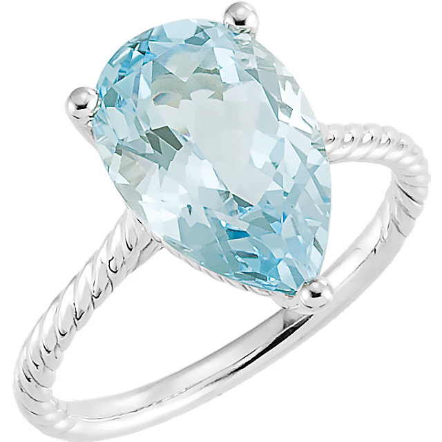 Amazing 14 Karat White Gold Pear Genuine Sky Blue Topaz Rope Ring