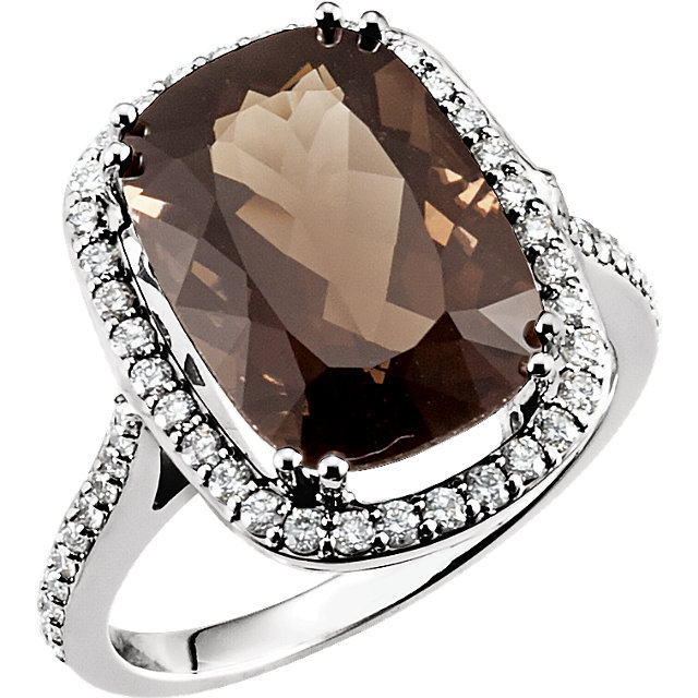 Great Gift in 14 Karat White Gold Smoky Quartz & 0.50 Carat Total Weight Diamond Ring