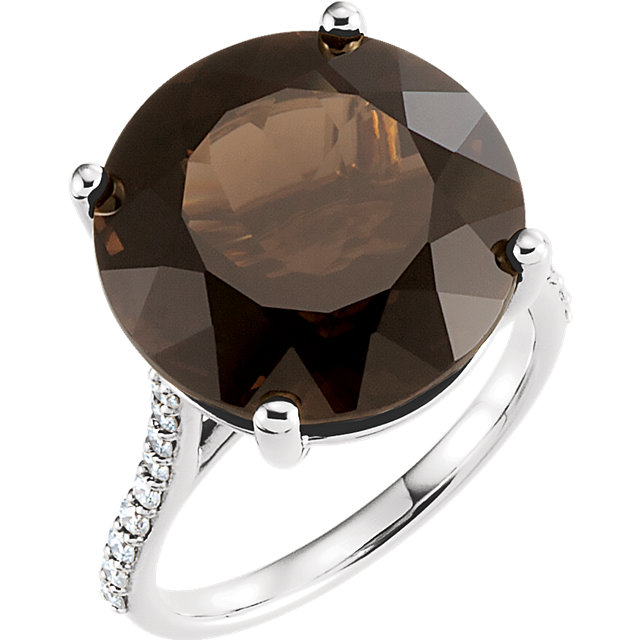 Beautiful 14 Karat White Gold Smoky Quartz & 0.25 Carat Total Weight Accented Diamond Ring