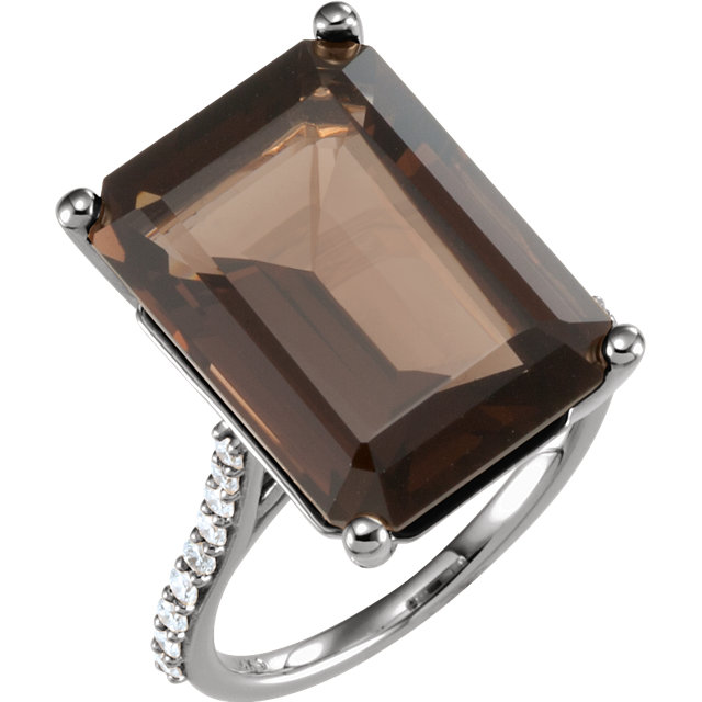 Gorgeous 14 Karat White Gold Smoky Quartz & 0.25 Carat Total Weight Diamond Ring