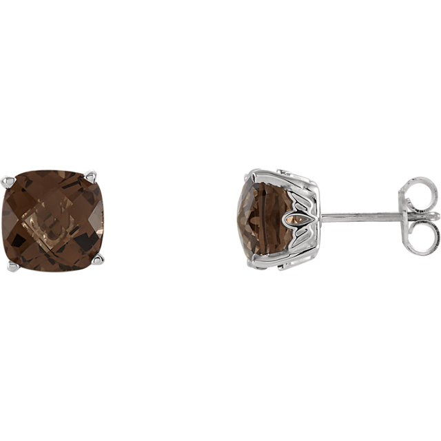 Must See 14 Karat White Gold Smoky Quartz Earrings