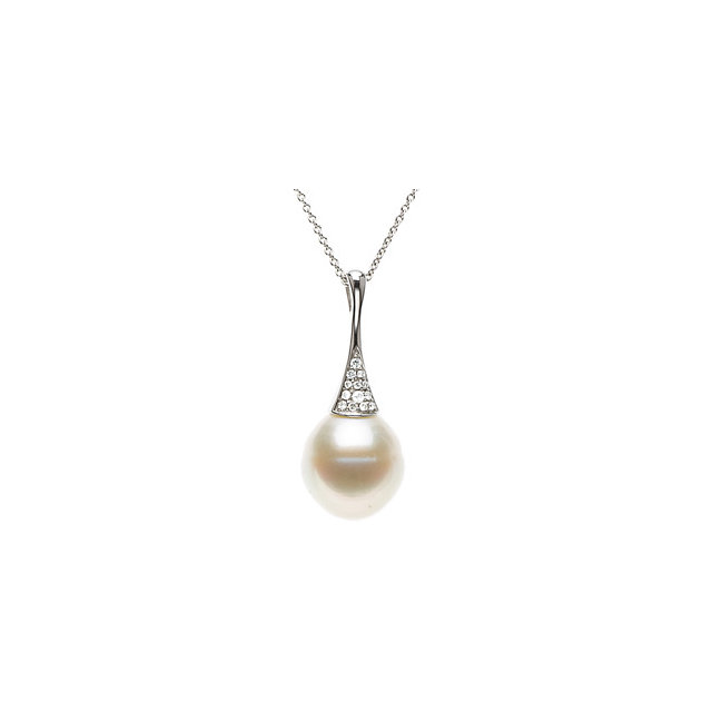 Chic 14 Karat White Gold South Sea Cultured Pearl & .05 Carat Total Weight Diamond 18