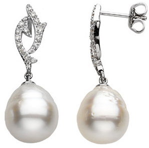 14KT White Gold South Sea Cultured Pearl & 1/4 Carat Total Weight Diamond Earrings