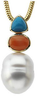 14KT White Gold South Sea Cultured Pearl, Coral & Turquoise Pendant