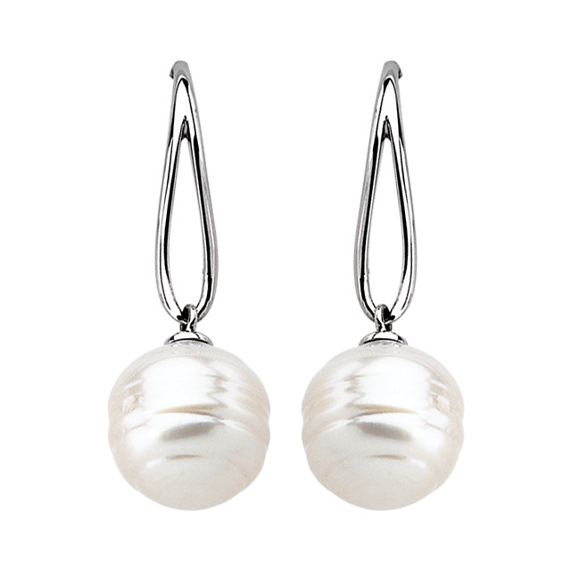 14KT White Gold South Sea Cultured Pearl Earrings