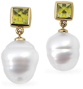 14KT White Gold South Sea Cultured Pearl & Peridot Earrings