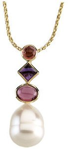 14KT White Gold South Sea Cultured Pearl, Pink Tourmaline, Amethyst & Rhodolite Garnet Pendant