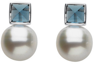 14KT White Gold South Sea Pearl & London Blue Topaz Earrings