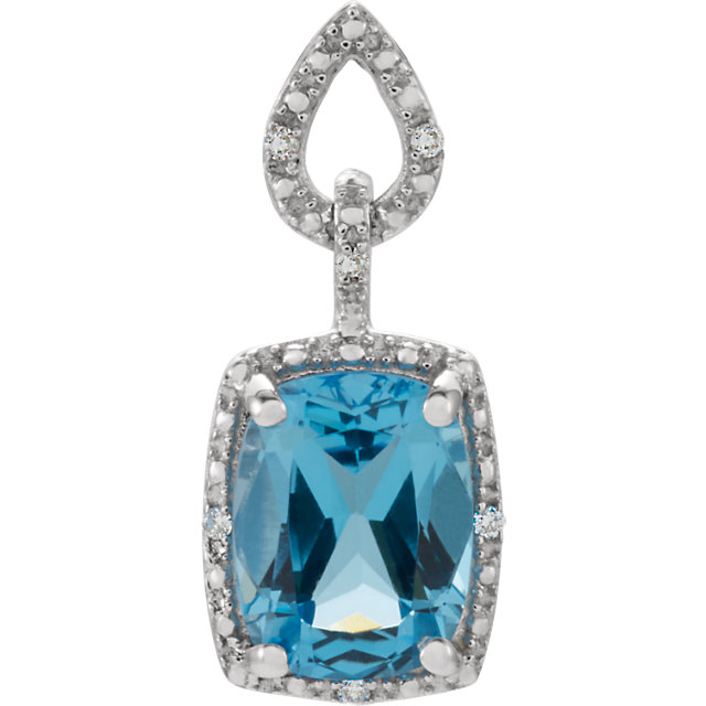 Perfect Jewelry Gift 14 Karat White Gold Swiss Blue Topaz & .025 Carat Total Weight Diamond Pendant