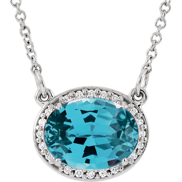 Surprise Her with  14 Karat White Gold Swiss Blue Topaz & .05 Carat Total Weight Diamond 16.5