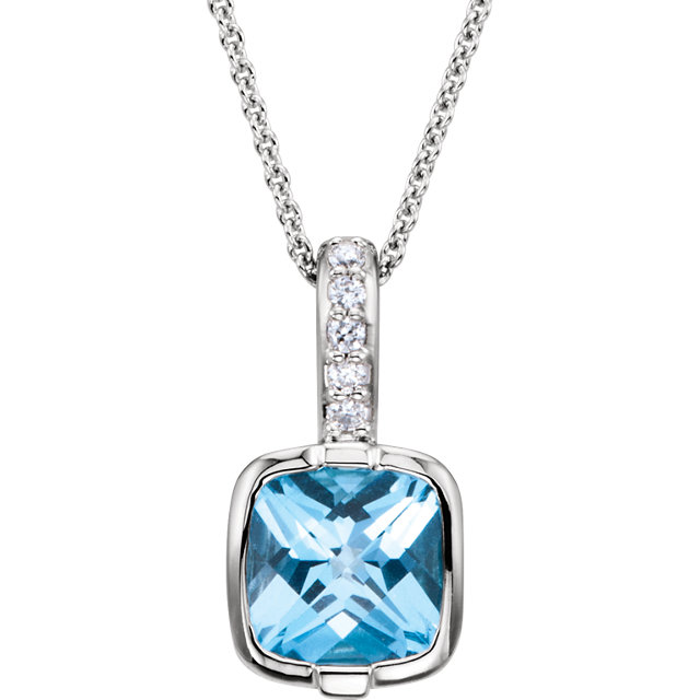 Eye Catchy 14 Karat White Gold Swiss Blue Topaz & .05 Carat Total Weight Diamond 18