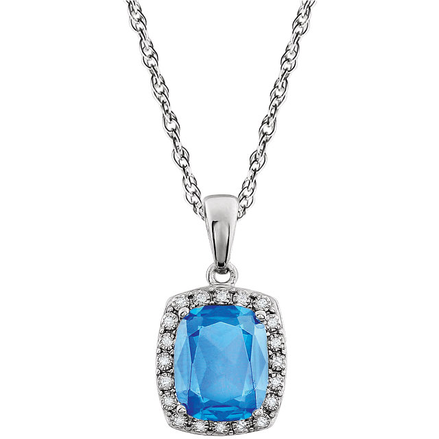 Very Nice 14 Karat White Gold Swiss Blue Topaz & .05 Carat Total Weight Diamond 18