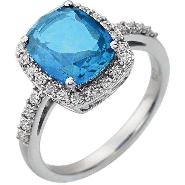 Fantastic 14 Karat White Gold Cushion Genuine Swiss Blue Topaz & .07 Carat Total Weight Diamond Ring