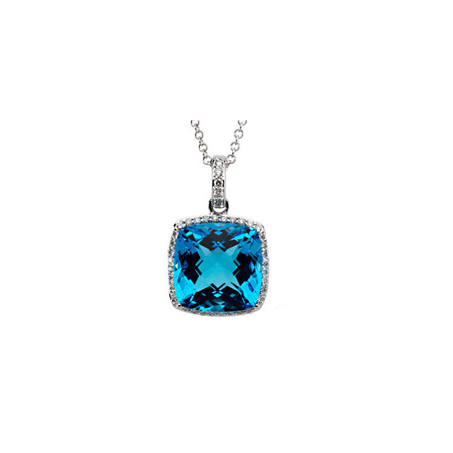 Easy Gift in 14 Karat White Gold Swiss Blue Topaz & 0.25 Carat Total Weight Diamond 18