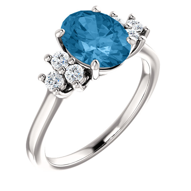 Magnificent 14 Karat White Gold Oval Genuine Swiss Blue Topaz & 1/4 Carat Total Weight Diamond Ring