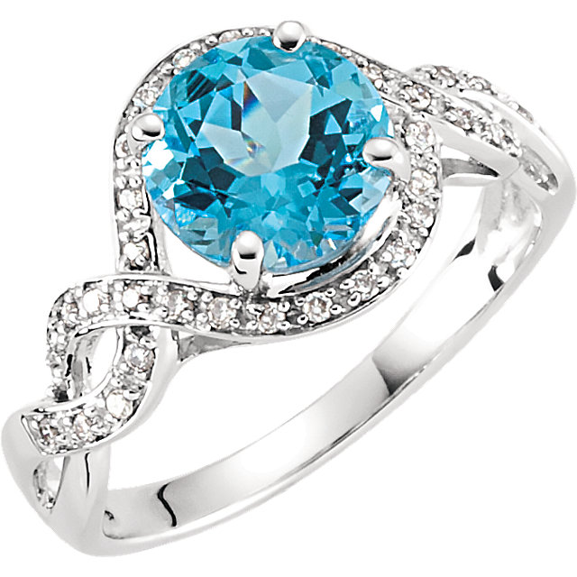 Graceful 14 Karat White Gold Round Genuine Swiss Blue Topaz & 1/6 Carat Total Weight Diamond Ring