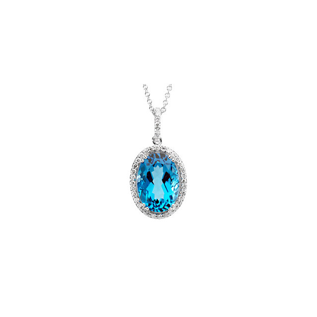 Stunning 14 Karat White Gold Oval Genuine Swiss Blue Topaz & 3/8 Carat Total Weight Diamond 18