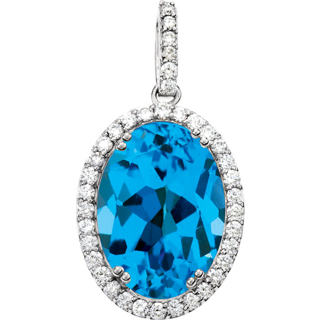 Very Nice 14 Karat White Gold Swiss Blue Topaz & 0.40 Carat Total Weight Diamond Pendant