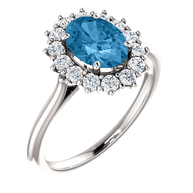 Terrific 14 Karat White Gold Oval Genuine Swiss Blue Topaz & 3/8 Carat Total Weight Diamond Ring