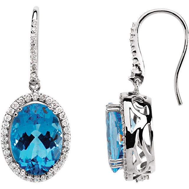 Must See 14 Karat White Gold Swiss Blue Topaz & 0.85 Carat Total Weight Diamond Earrings
