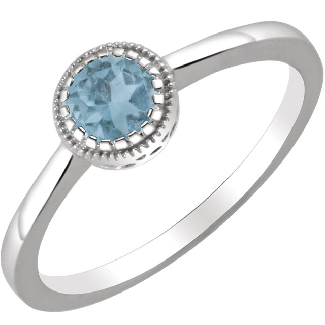 Magnificent 14 Karat White Gold Round Genuine Swiss Blue Topaz