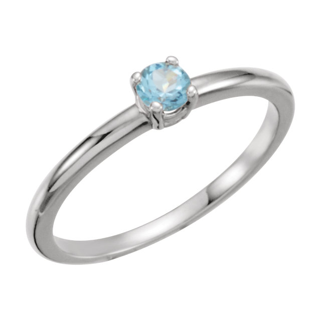 14 Karat White Gold Swiss Blue Topaz