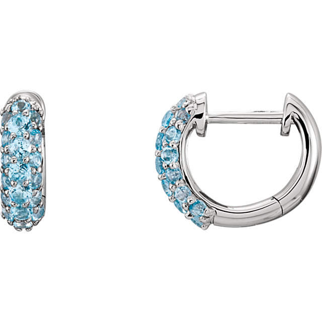 Contemporary 14 Karat White Gold Swiss Blue Topaz Earrings