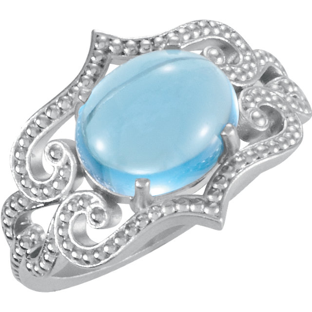 Beautiful 14 Karat White Gold Oval Genuine Swiss Blue Topaz Granulated Design Ring